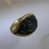 Ancient Greek Bronze Ring set in Gold