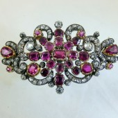 Diamonds and Rubies gold broach