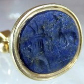 Ancient Roman Lapis Intaglio in Eighteenth cent. fob seal