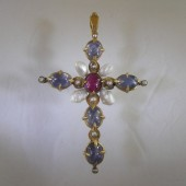 Gold Cross with Sapphires, and Pearls