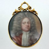 Enameled portrait in gold frame