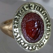 Medieval carnelian armorial seal ring