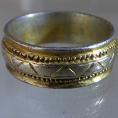 Medieval silver gilt ring