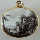 Enameled Grand Tour gold pendant