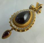Etruscan revival gold pendant