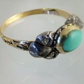 1700 ring with turquoise and diamonds in original box