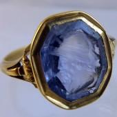 Sapphire intaglio ring