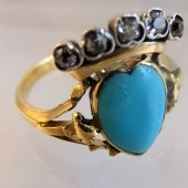 Turquoise heart and diamonds ring