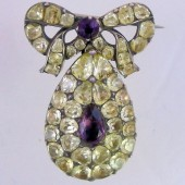 Eighteenth Century Chrysolite and Amethyst Brooch