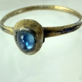 Medieval silver gilt sapphire ring