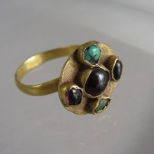 Gold Turquoise and Garnet Ring