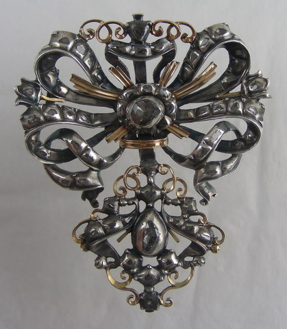 Spanish 1700 diamonds, silver, gold pendant.