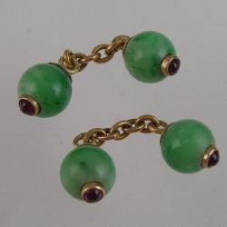 Pair of Jade and Rubies Cufflinks