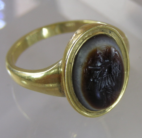 Ancient Intaglio of Nike in modern gold setting