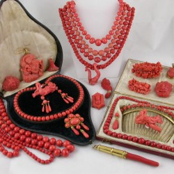 Collection of Coral jewelry from the Eighteenth and Nineteeth century