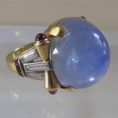 Cabochon Sapphire , Diamonds, and Rubies Ring