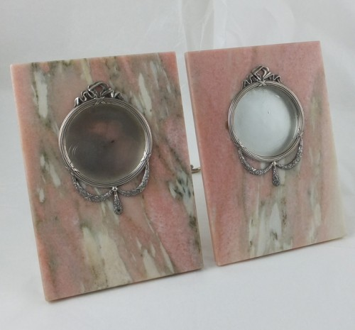 Pair of Russian silver and pink marble picture frames