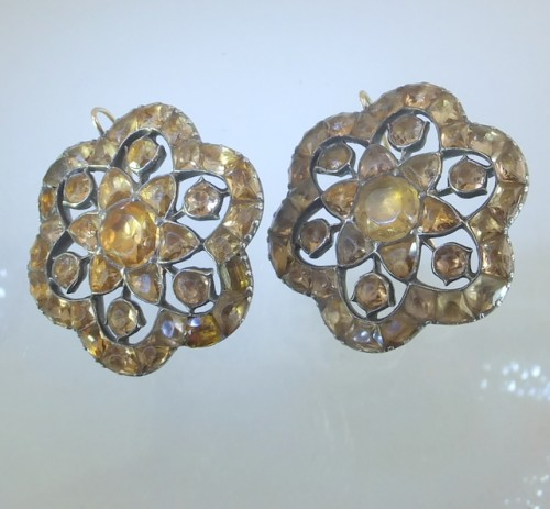 Pair of eighteenth century silver and topaz earrings