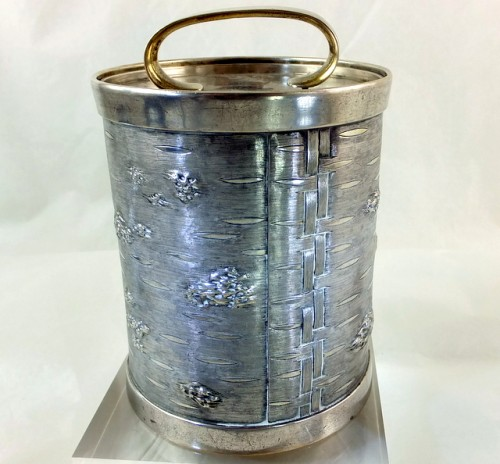 Russian silver honey jar
