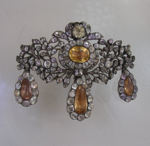 Eighteenth Century Topaz and Rock Crystal broach with matching earrings