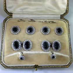 Edwardian diamonds and onyx  cufflinks and stud set