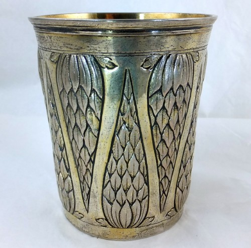 Augsburg partially gilt silver beaker