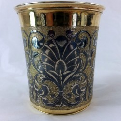 Russian silver gilt beaker with niello decoration