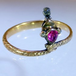 Gold Diamonds and ruby snake ring