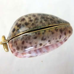 Enameled gold Vinaigrette in the shape of a cowrie shell