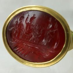 Serapis,Fortuna,Isis ancient intaglio ring