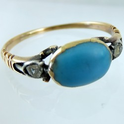 Eighteenth century turquoise and diamonds ring