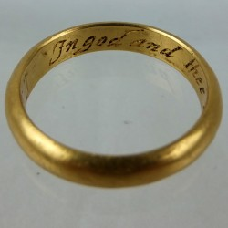 Rare early hollow gold posy ring