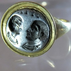 Byzantine silver marriage medal ring
