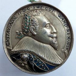 Enamelled silver medal of Gustavus Adolphus