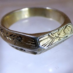 Fourteenth century silver gilt iconographic ring