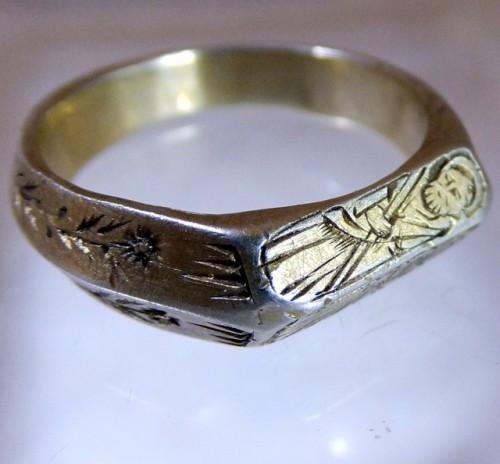 Fourteenth century silver gilt iconographic ring