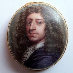 Enameled portrait and gold slide