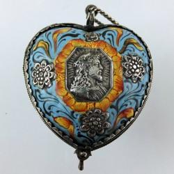 Enameled silver heart