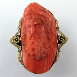 Large coral cameo brooch