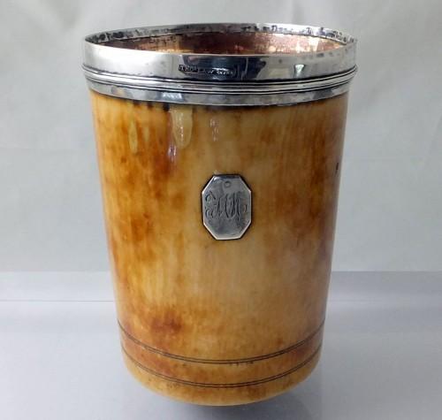 Silver mounted ivory beaker