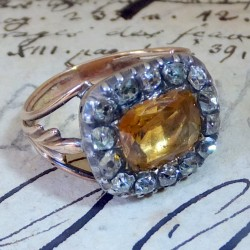 Topaz ring with diamonds