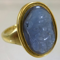 Blue chalcedony theater mask cameo ring