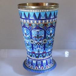 Russian enameled silver beaker