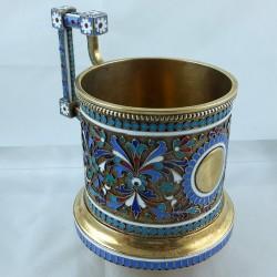 Enameled Russian tea glass holder