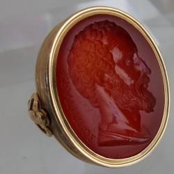 Carnelian intaglio ring by Poniatowski