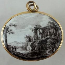 Enameled Grand Tour gold pendant
