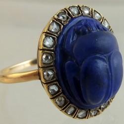 Lapis scarab ring