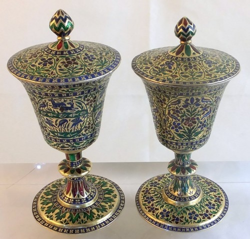Enamelled Lucknow silver cups